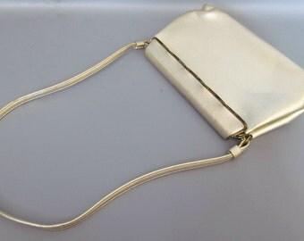 Vintage Metallic Gold Miss Lewis 1950s Hinged Clasp Purse Handbag