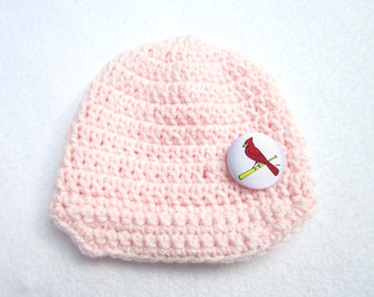 Baseball Baby Cap, Crochet Pink with Cardinal Button by Charlene, St. Louis Cardinals Inspired, Photo Prop 0 to 3 Months Ready to Ship
