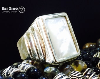 New 2015 Mens Armour Sea Seashell Ring by EZI ZINO Solid Sterling Silver 925 Big size