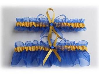 Royal Blue and Gold Wedding Garter Set, Bridal Garter Set, Wedding Garter, Prom