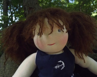 "SALE on Waldorf Dolls, Girl, Handmade Cloth Doll, Rag Doll, 16"" Doll, Cotton and Wool Doll"
