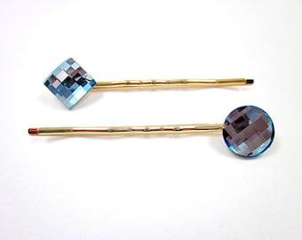 Blue Bobby Pin -- Swarovski Bobby Pin -- Sparkling Blue Pin -- Blue Crystal Hair Pin -- Light Blue Hair Pin -- Aquamarine Hair Pin