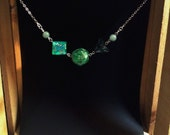 Nerdy Green Dice and Jade Silver Necklace