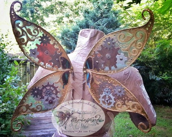 Steampunk Pixie Wings for Bridal Wedding Cosplay LARP Halloween Costume Fair Festival Faery Wings Fairy