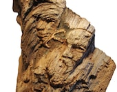 Mountain Face Woodland American Bald Eagle and Mountain Spirit Wooden Carving Sculpture 2014