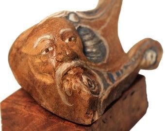 Song Blue Old Man Elder Woodland Spirit Wooden Carving Sculpture 2014