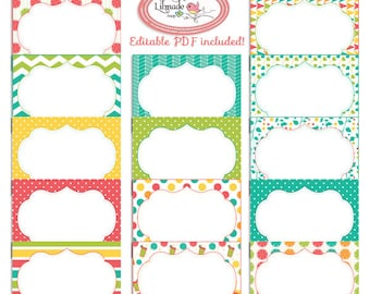 Summer citrus digital printable cards, 3.5 x 2.5 editable PDF cards and labels, Pr180