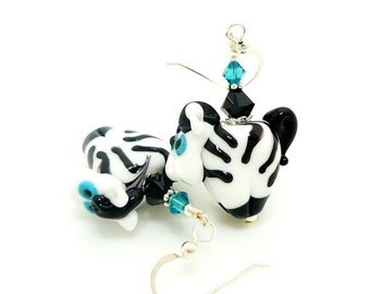 Zebra Earrings, Animal Earrings, Animal Jewelry, Lampwork Earrings, Glass Earrings, Glass Bead Earrings, Zoo Jewelry, Fun Earrings