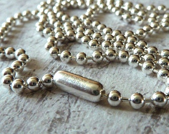 Sterling Silver Ball Chain Necklace,Unisex Chain for Men and Women, 3mm Sterling .925 Bead Chain