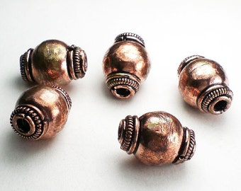 Large Solid Copper Beads Large Hole Beads 17.5mm 5 pcs. GC-325