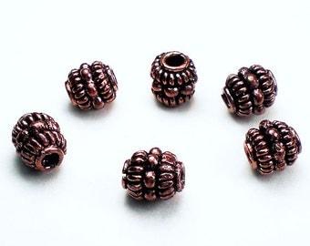 8mm Genuine Copper Beads Copper Barrel Bead Large Hole Beads 6 pcs. GC-326