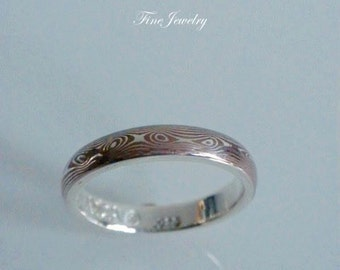 Mokume Gane Ring - Ready To Ship - 3.8 mm's New Sterling Silver & Copper Pattern.