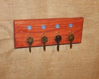 Blue Button Red Oak Key Rack, Key Holder, Handcrafted, American Wood, C102