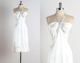 Twist of Fate . vintage 1950s dress . vintage satin dress . 4979