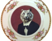 Timeless Tiger - Altered Vintage Plate 9.15""