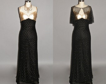 1930s Dress, Vintage 30s Formal Evening Dress and Capelet, Old Hollywood XS - S