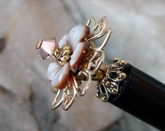 Japanese Hair Stick Brown Shell Carved Flower Swarovski Floral Hair Accessory Hair Sticks Geisha Hair Pins Chopsticks Haarstab - Paulina