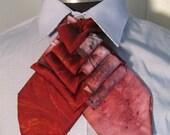 Unisex upcycled Steinkirk, burgundy tie dye, steampunk, Victorian spin on your everyday tie