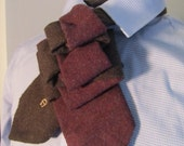 Unisex upcycled Steinkirk, burgundy and brown wool, steampunk, Victorian spin on your everyday tie