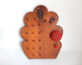 Vintage Handmade Wall Mount Sewing Pin Cushion & Thread Holder