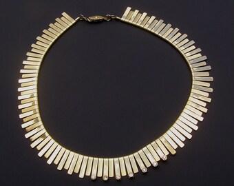 Vintage Cleopatra Collar Gold Tone Rhinestone Statement Necklace