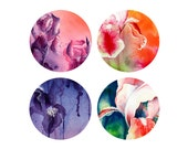 Iris Flower Watercolor Stickers