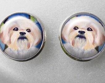 Shih Tzu Stud Earrings ~ December Birthday ~ Girlfriend Gift ~ Pet Earrings ~ Dog Earrings ~ Mini Portraits