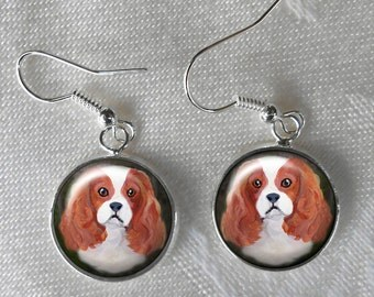 Blenheim Cavalier King Charles Spaniel Drop Earrings  ~ December Birthday ~ Autumn Finds ~ Stocking Stuffer ~ Girlfriend Gift
