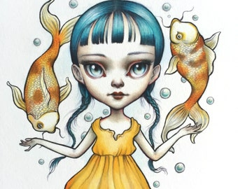 Pisces - Zodiac Girl signed 8x10 pop surrealism lowbrow Fine Art Print by Mab Graves -unframed