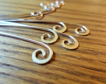 Semi Swirl Eye pins Choose from Copper, Oxidized Copper, Brass or Sterling Silver 18g 25pcs Hand-forged