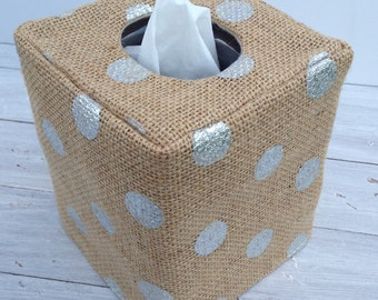 Silver Polka Dot Burlap natural tissue box cover