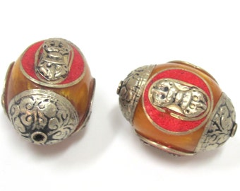 1 bead -Tibetan honey copal resin capped beads with tibetan dorje vajra symbol and coral inlay- BD398