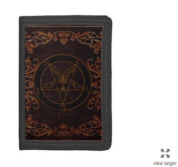 Grimoire Baphomet Pentagram Tri Fold Wallet