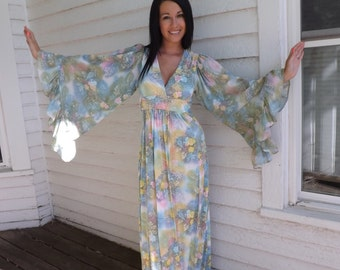 Hippie Dress Angel Sleeves Floral Print Maxi Vintage 60s 70s 1970s S XS