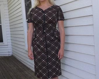 Vintage Plaid Dress Brown Cotton Print 60s 1960s M 38 29