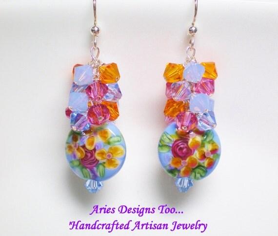 Blue Floral Chintz Lampwork Earrings in Periwinkle Blue, Orange and Rose, Blue and Orange Floral Earrings,Dangle Earrings