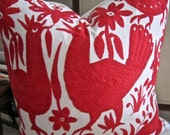 BEST Bright RED Hand Embroidered Otomi Pillow Cover 20 x 20 FAB!