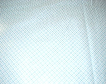 """Diagonal Blue Plaid Flannel Fabric  - 43"""" wide - sold by the yard"""