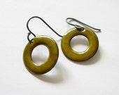 Green Enamel Earrings, Olive Green Hoop Earrings with Sterling Silver Ear Wires