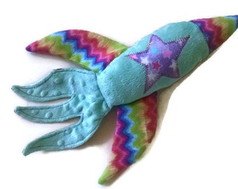 Plush Rocket Ship, Space Ship Lovey, Space Shuttle Toy, Baby Girl, Mint Green Minky, Baby Shower Gift, Outerspace Decor, READY TO SHIP