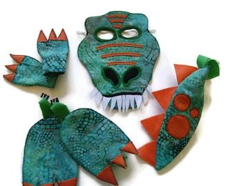 Dinosaur Costume, Mask, Tail, Claws and Feet, T Rex Costume, Dress Up, Tyrannosaurus Rex, Children's Halloween Costume, Adult Costume