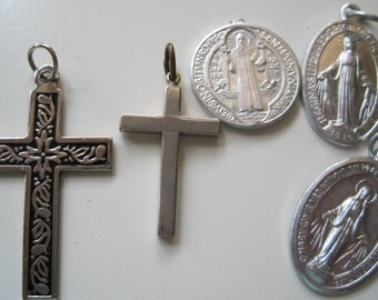 Vintage holy medals with two crosses