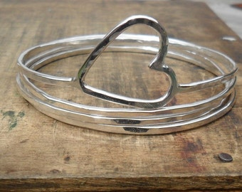 Stacking Silver Bangles with a Heart