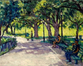 Summer Shadows, Park Benches, New York City. 7x10 Oil Painting Landscape, Small Urban Impressionist Oil on Panel, Signed Original Fine Art