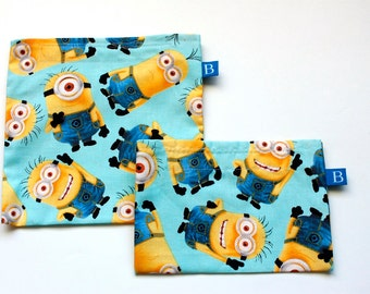 Reuseable Eco-Friendly Set of Snack and Sandwich Bags in Minions Fabric