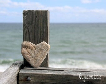 Beach Theme Heart Photo Print- My Heart Stone, Beach Photo, beach stone heart, soft blue, coastal photo art, beach decor, romantic gift