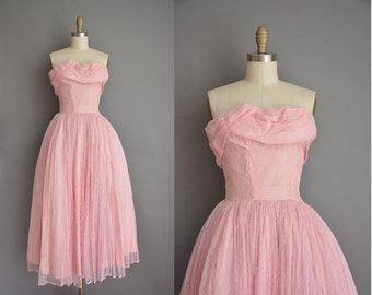 vintage 1950s dress / strapless lace party dress / 50s dress