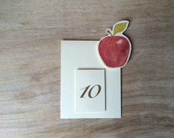 Red Apple Fruit Table Number Tents - for Events, Weddings, Parties, Showers, Graduations.