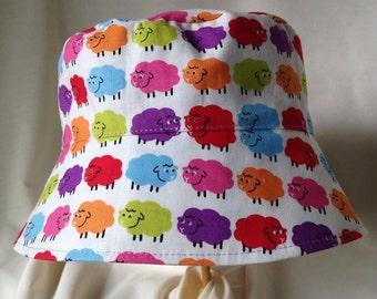 Baa Baa Bright Sheep - Sun Hat with Straps - Bright Sun Hat - Sun Hat - Toddler Bucket Hat