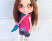 Fucsia and BlueMohair Set for Blythe Doll